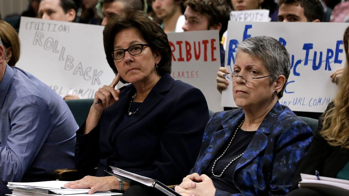 Monica Lozano, left, chair of the University of California Board of Regents, and UC President Janet Napolitano (AP Photo/Rich Pedroncelli)