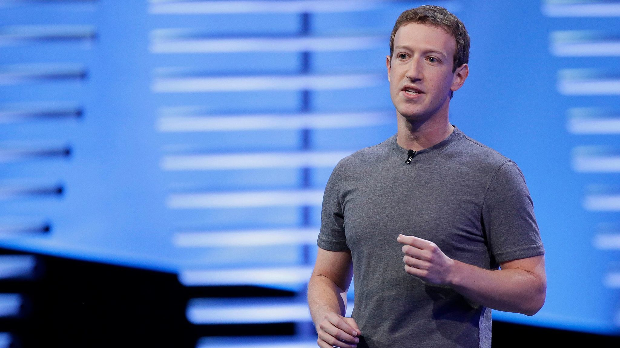 Facebook Chief Executive Mark Zuckerberg speaks during the keynote address at the F8 Facebook Developer Conference in San Francisco on April 12, 2016.