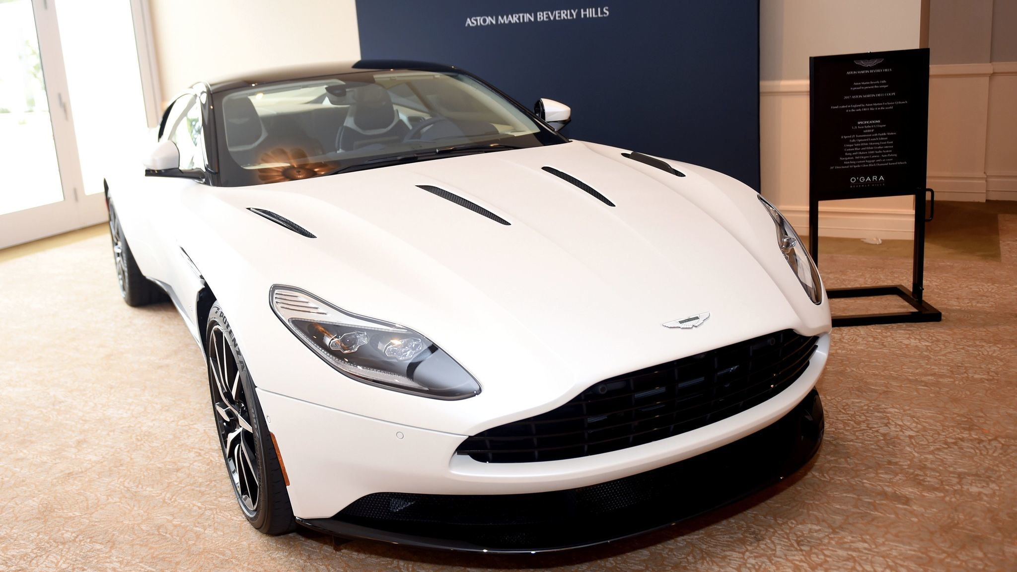 Among the items for sale at the silent auction were an Aston Martin DB11 Coupe.