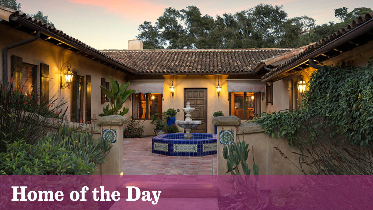 Santa barbara spanish style hacienda pours on the charm for Spanish style fountains for sale