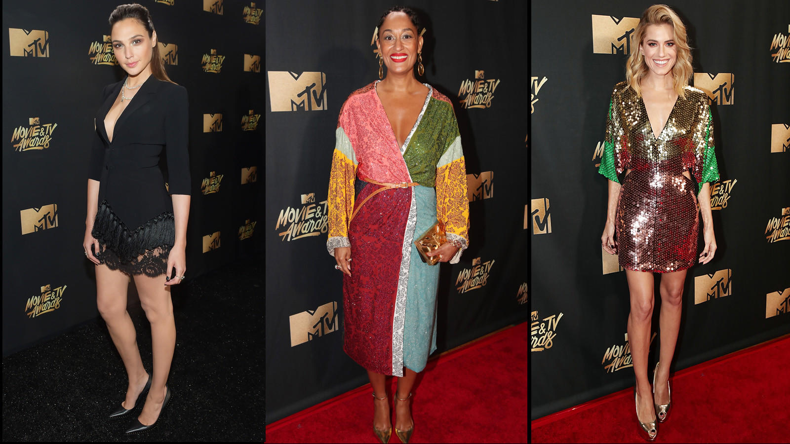 """Wonder Woman"" actress Gal Gadot, left, ""black-ish"" matriach Tracee Ellis Ross and ""Get Out"" girlfriend Alison Williams (Matt Winkelmeyer / Getty Images, left;  Christopher Polk / Getty Images, center and right)"