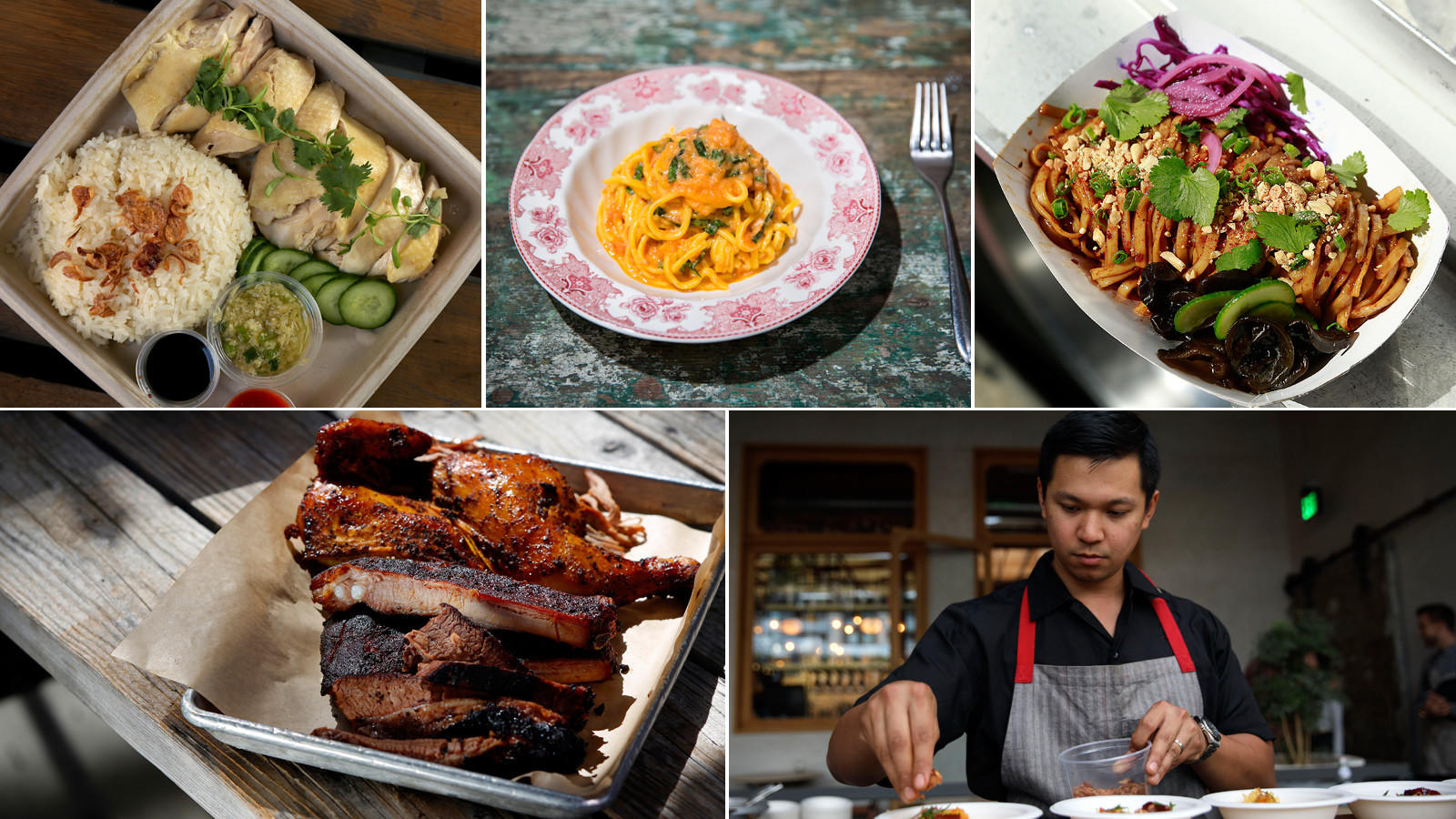 Clockwise from top left: Side Chick, The Ponte, Chinese Laundry truck; Charles Olalia of Rice Bar, and Bludso's BBQ (Rick Loomis; Jay L. Clendenin; Kirk McKoy; Liz O. Baylen; Patrick T. Fallon / Los Angeles Times)