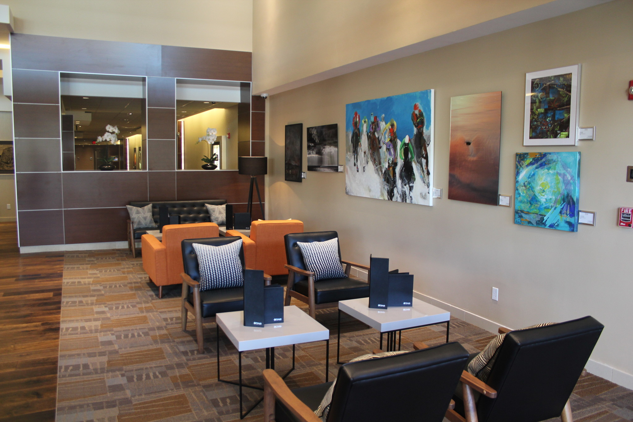 The expanded lobby in Cinepolis features artwork from Del Mar Art Center.