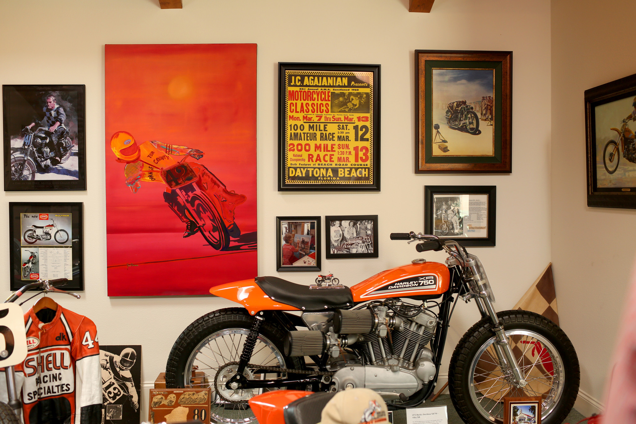 Though the museum is dedicated to motocross, there's a special room for flat track motorcycles, which White raced as a young man.