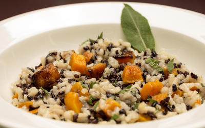 Black pearl and arborio risotto with roasted butternut squash