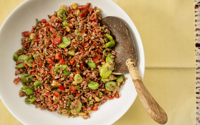 Red rice salad with favas, walnuts and red peppers
