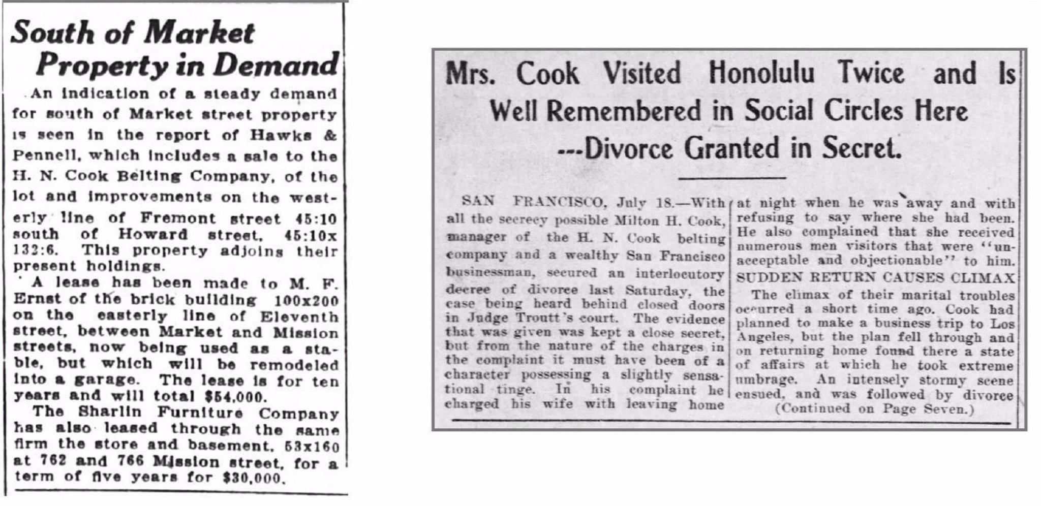 Reports detail news about the Cook family in the San Francisco Chronicle and Honolulu Advertiser in the late 19th and early 20th centuries.