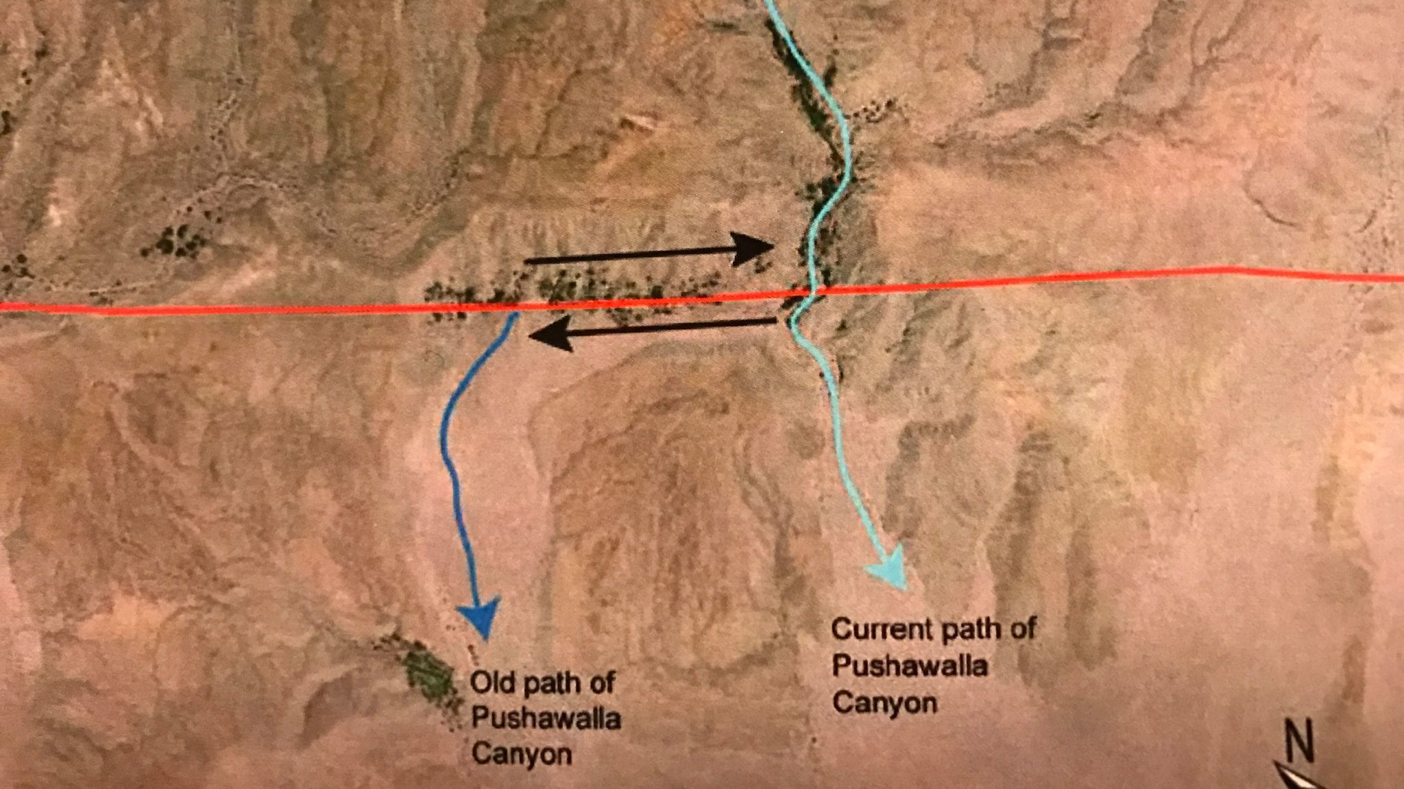 The old path of the Pushawalla Canyon was carved into Earth 32,000 years ago, according to U.S. Geological Survey research geologist Kate Scharer. Since then, the lower part of the canyon has been moving left, to the northwest, and has moved half a mile so far.