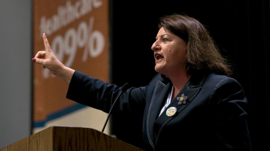 State Sen. Toni Atkins, D-San Diego, calls for passage of a single-payer health care measures at a r