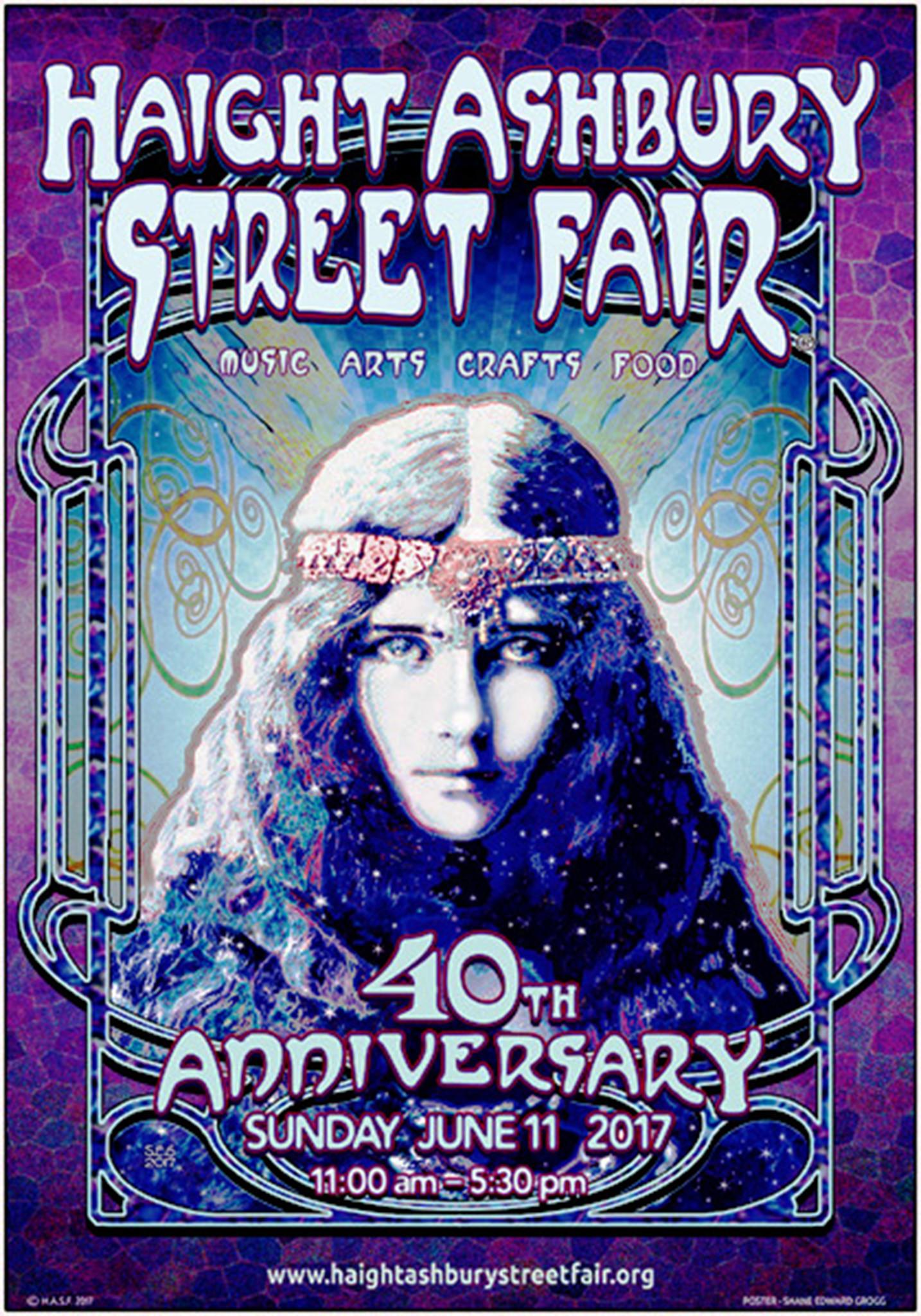 Haight Ashbury Street Fair 40th anniversary poster by Shane Edward Grogg.