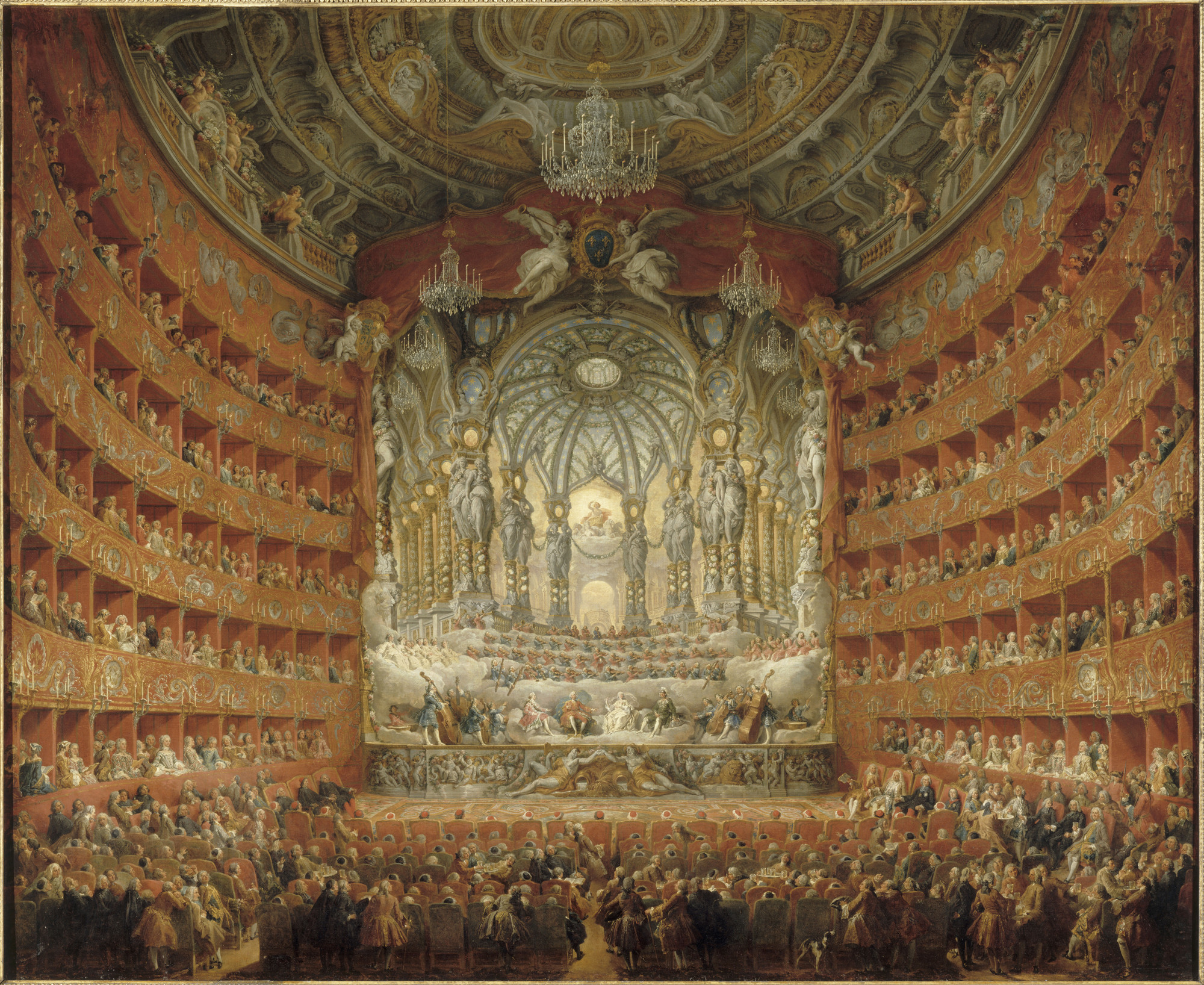 """The Musical Performance in the Teatro Argentina in Honor of the Marriage of the Dauphin,"" 1747, by Giovanni Paolo Panini, at the Getty Museum."