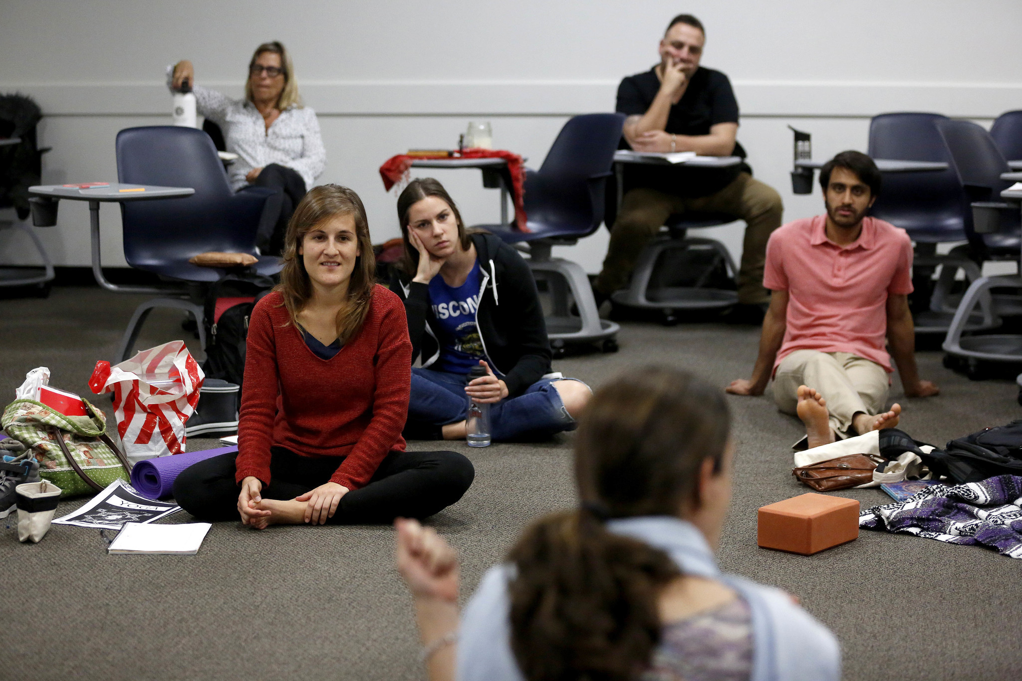 First-year master's degree in yoga students attend a class taught by professor Ana Funes at Loyola Marymount University, in Los Angeles. LMU is the only place in the U.S. you can get a master's degree in yoga studies.