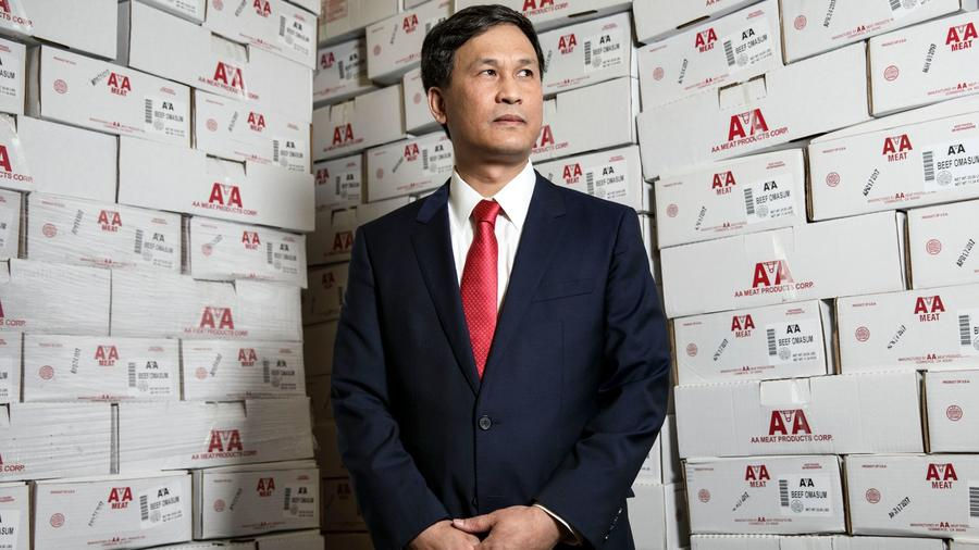 Pat Yan, chief executive of AA Meat Products stands for a portrait at AA Meat Products on Tuesday, M