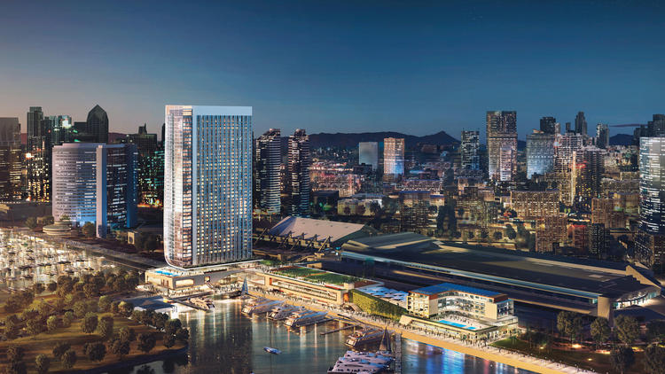 The Fifth Avenue Landing hotel, proposed for space on the bayside of the San Diego Convention Center