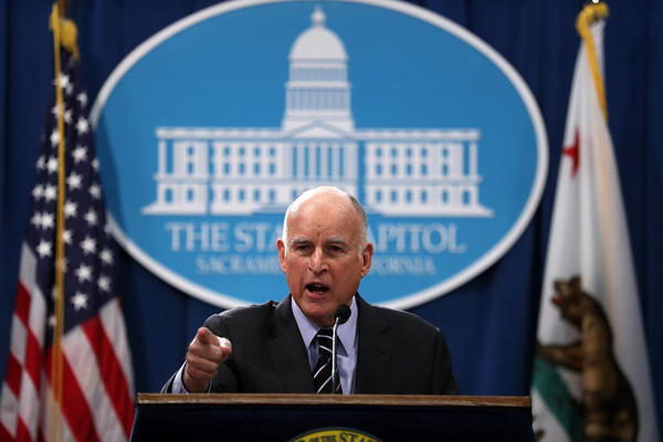 California Gov. Jerry Brown speaks to reporters at the Capitol on Thursday. (Justin Sullivan / Getty Images)