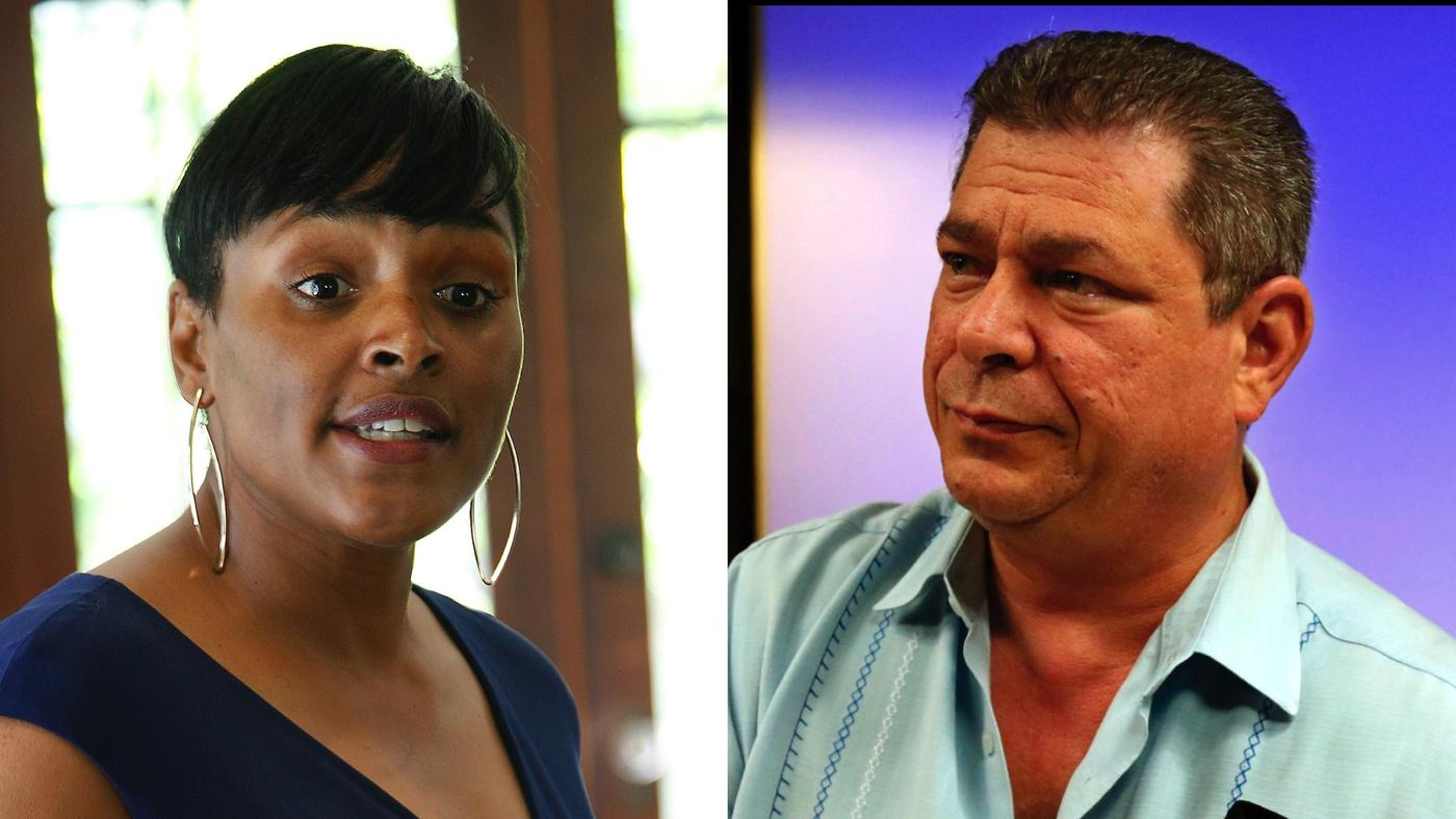 Kimberly Ellis and Eric Bauman are running to become chair of the California Democratic Party. (Kirk McKoy and Genaro Molina / Los Angeles Times)