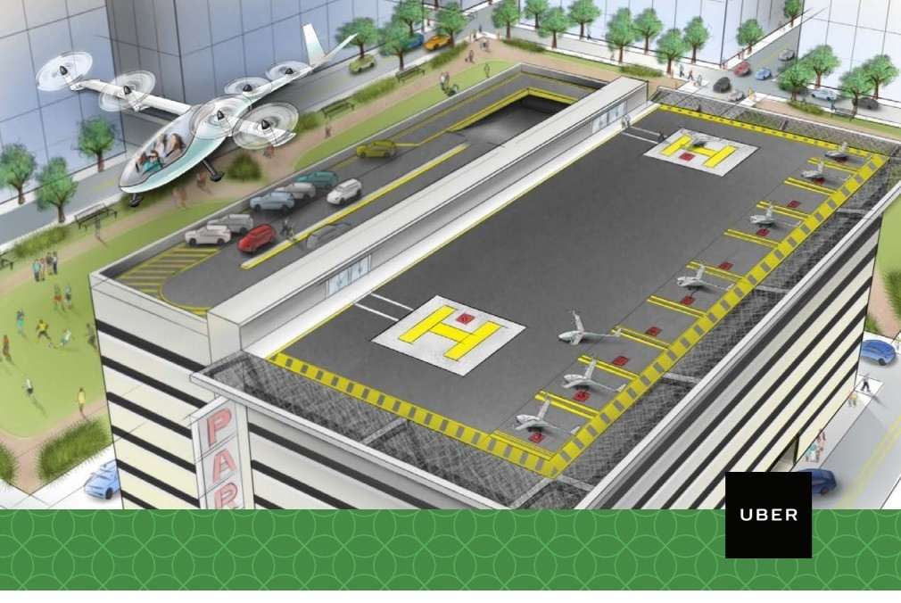 "A rendering of a vertical takeoff and landing vehicle and a ""vertiport"" for Uber's planned on-demand air-transportation system. (Uber)"