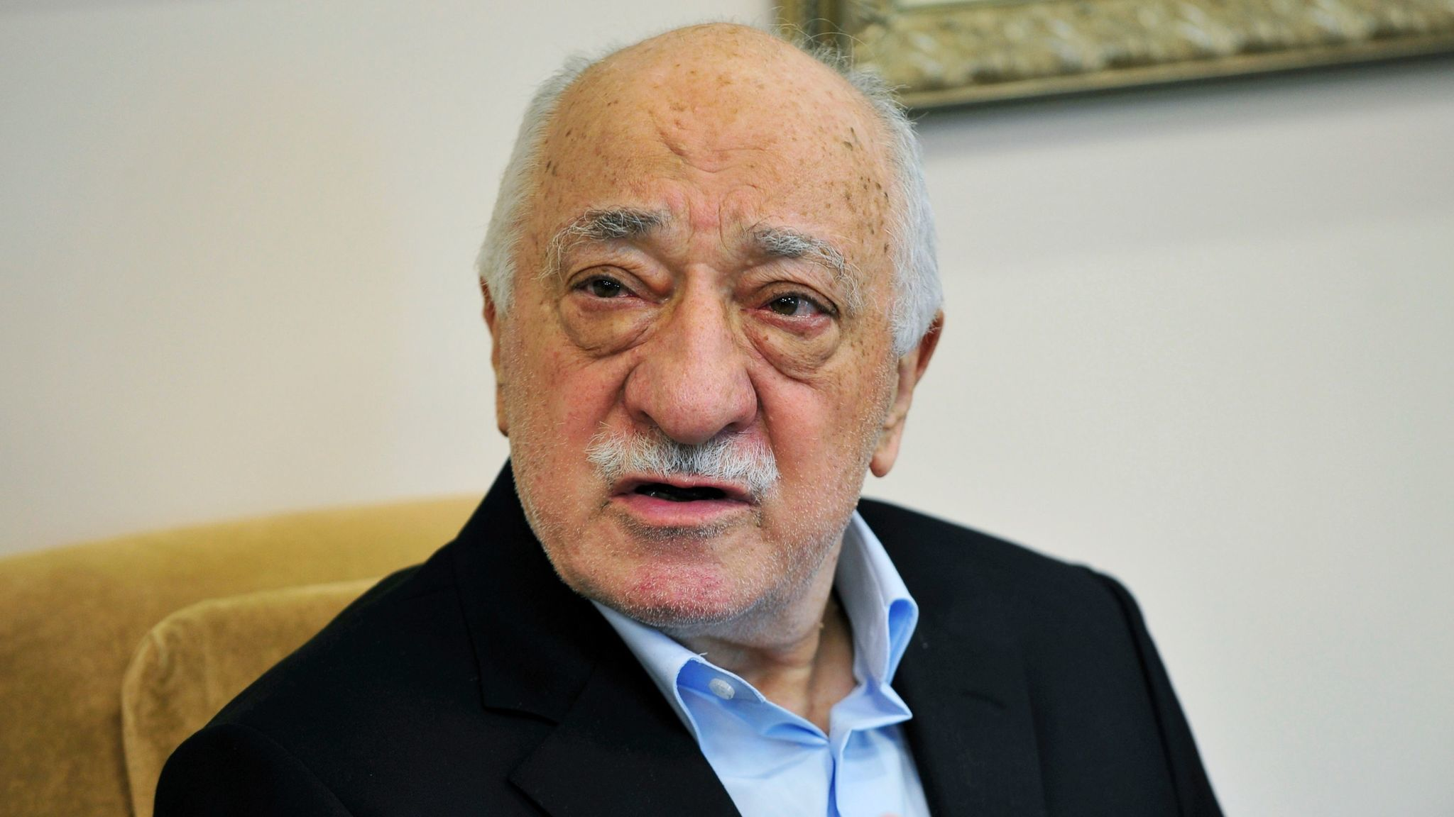 Cleric Fethullah Gulen speaks to members of the media at his compound in Saylorsburg, Pennsylvania on July 17, 2016