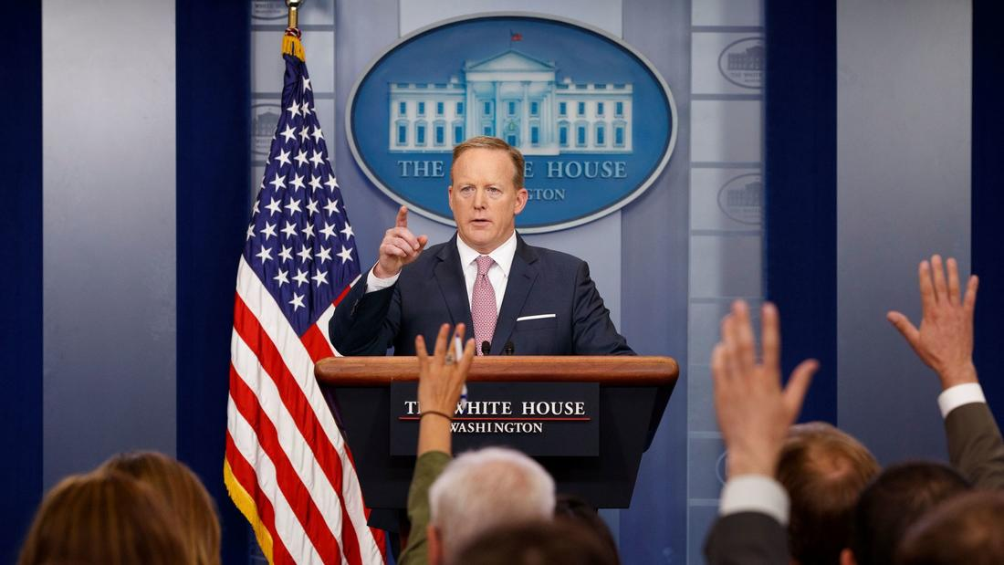 Sean Spicer conducts a White House news briefing in May. (Evan Vucci / Associated Press)