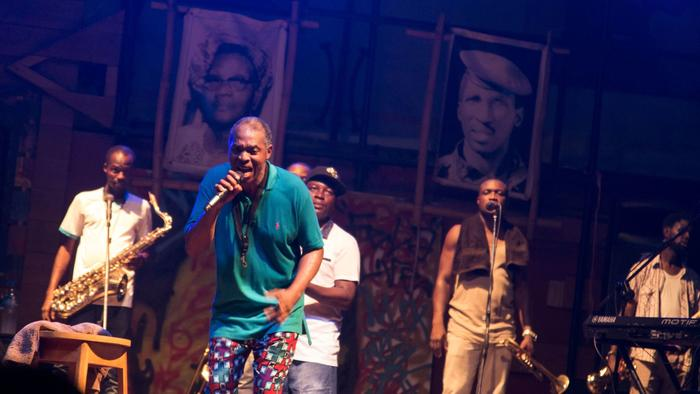 Femi Kuti, son of Fela Kuti, during a public rehearsal at his family's legendary concert hall, the S