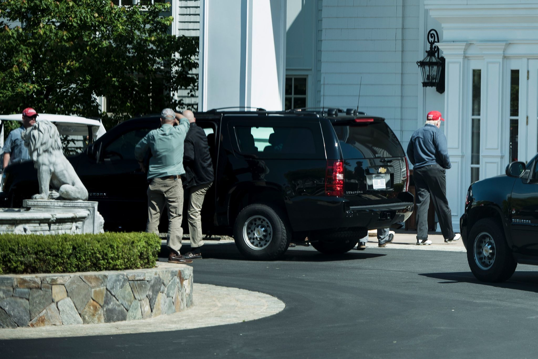 President Trump arrives at his Trump National Golf Club in Sterling, Va., on May 14, 2017. (Brendan Smialowski / AFP/Getty Images)