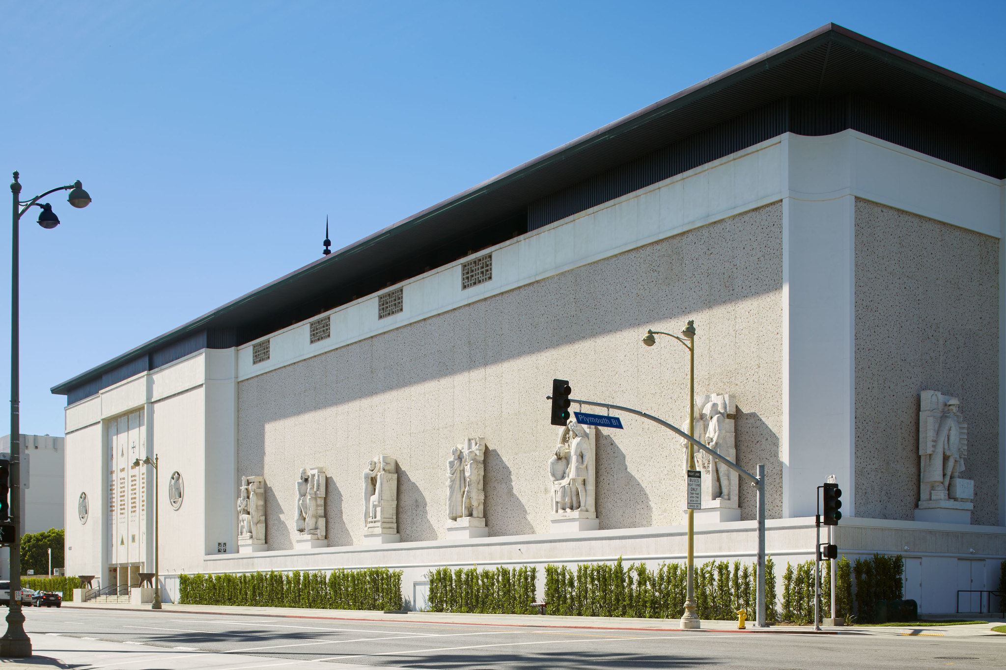 The exterior of the Marciano Art Foundation, housed in the former Scottish Rite Masonic Temple on Wilshire Boulevard in Los Angeles.