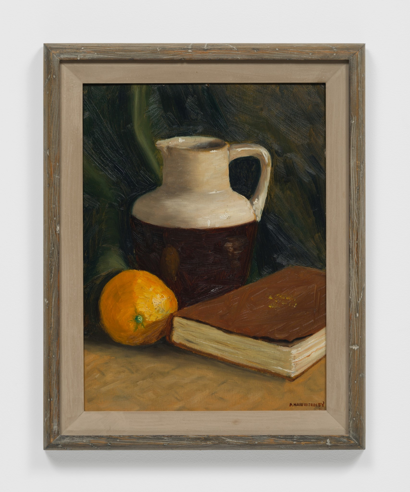 """""""First Still Life (Ft. Hall, Idaho),"""" 1937, oil on upson board in artist-made frame, 19.5 inches by 15.5 inches"""