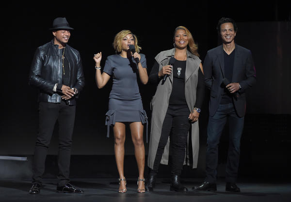 "Frank Micelotta / Fox (Terrence Howard, left, and Taraji P. Henson of ""Empire"" and Queen Latifah and Benjamin Bratt of ""Star"" perform during the upfront presentation for Fox)"