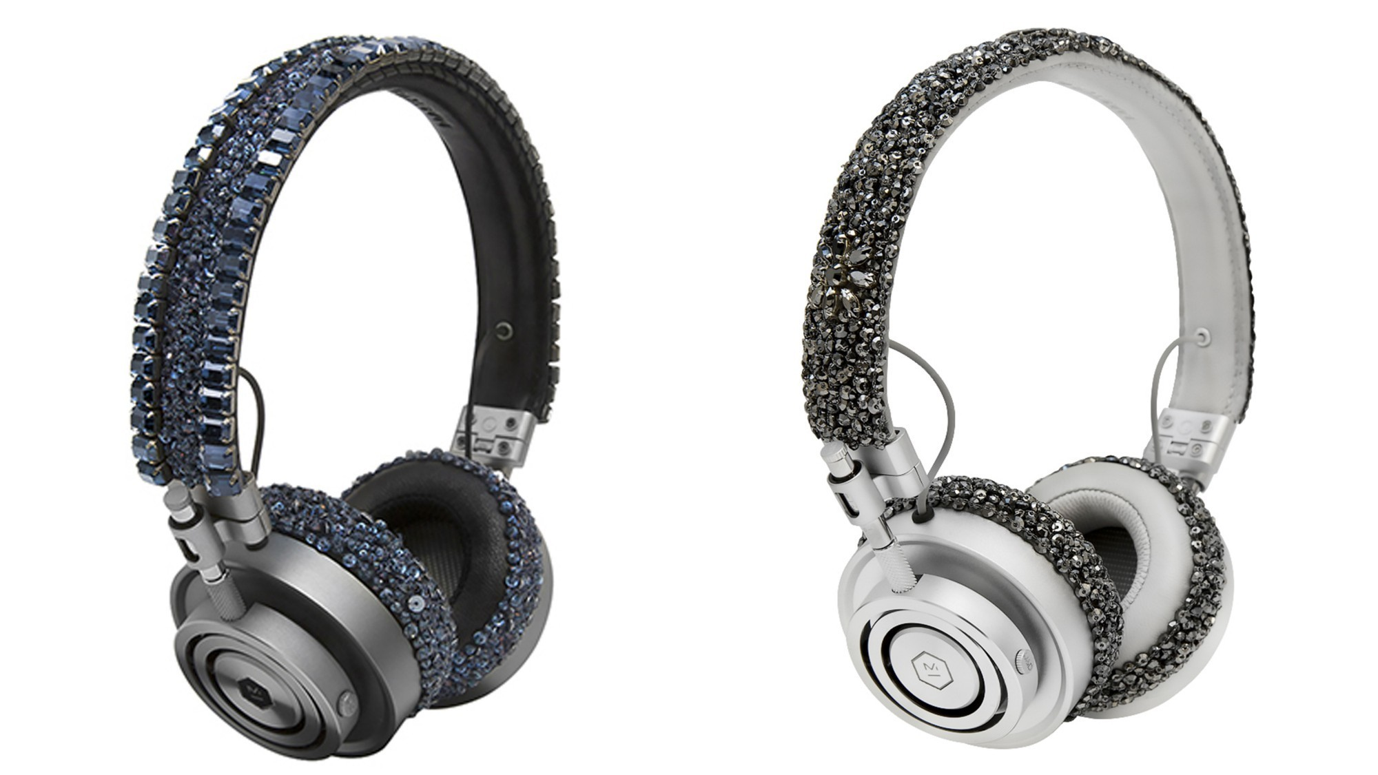 Carolyn Rowan x Master & Dynamic MH30 Swarovski crystal embellished headphones in navy silver and dark grey.
