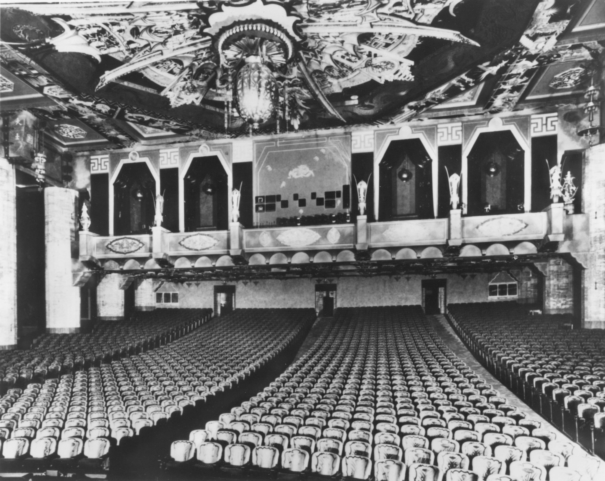 A vintage shot of the inside the Chinese-themed movie palace that Sid Grauman built.