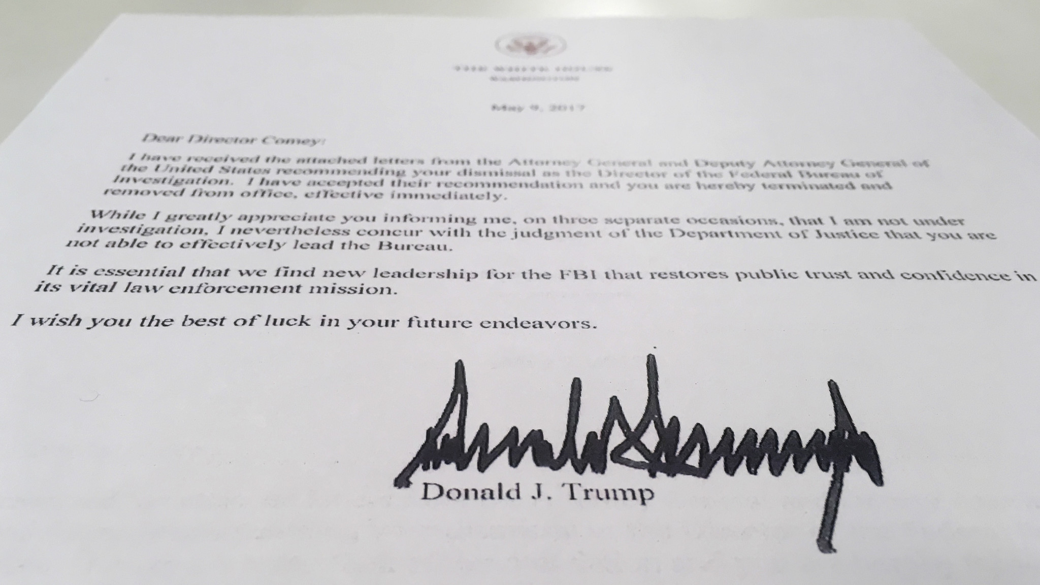 The termination letter from President Trump to FBI Director James B. Comey.