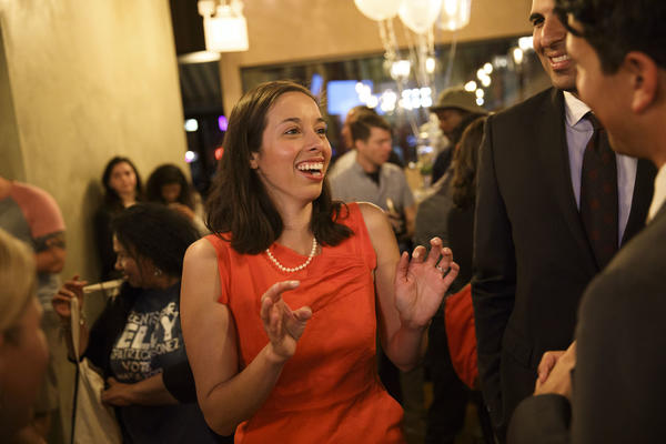 Kelly Gonez with supporters on election night in San Fernando. (Patrick T. Fallon/ For The Los Angeles Times)