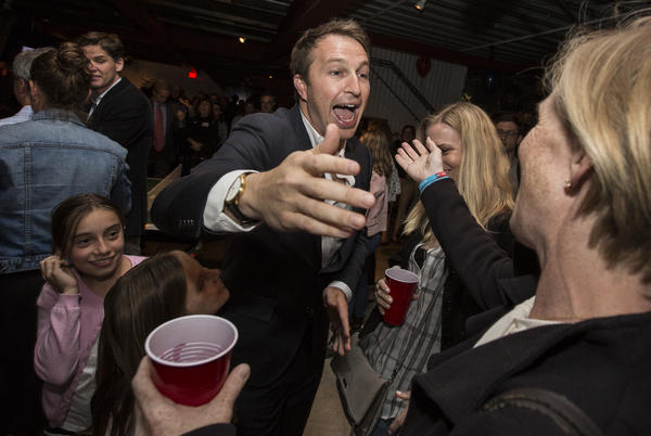 Nick Melvoin at election night party. (Brian Vander Brug/Los Angeles Times)