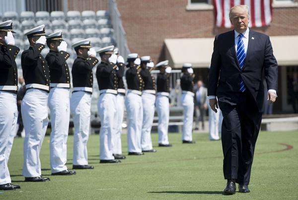 President Trump arrives at the U.S. Coast Guard Academy in New London, Conn., to deliver the commencement address on May 17. (Saul Loeb / AFP/Getty Images)