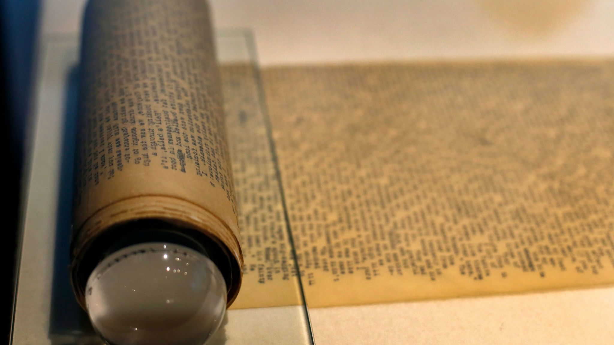 "Jack Kerouac's manuscript of ""On the Road"" -- a 120-foot scroll -- is on display at the American Writers Museum in Chicago."