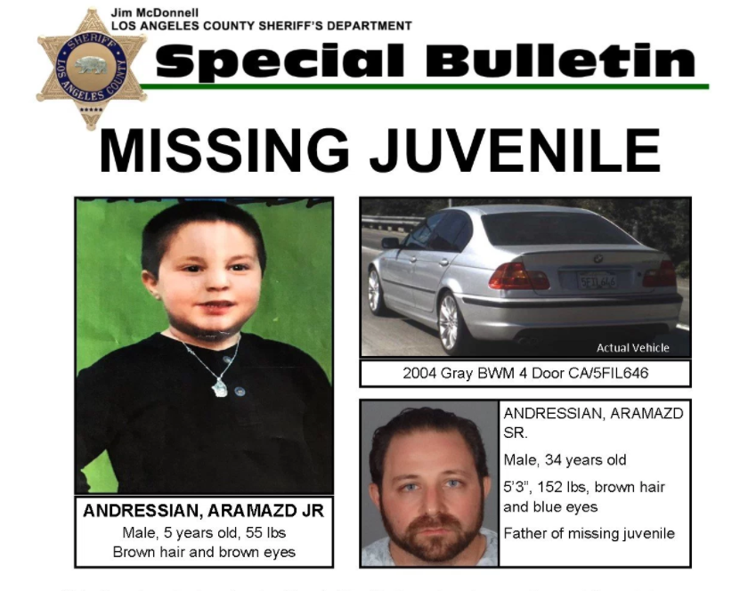 A sheriff's flier details the missing child case.