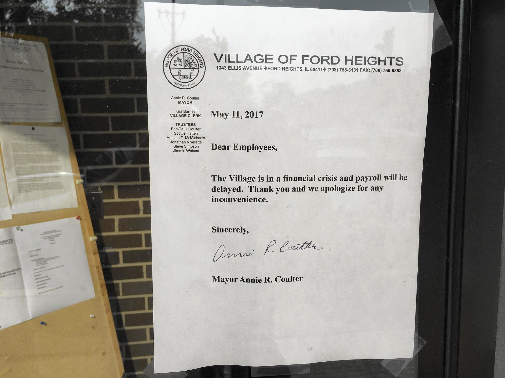 Slowik ford heights seeks to resolve financial crisis disrupting payroll daily southtown