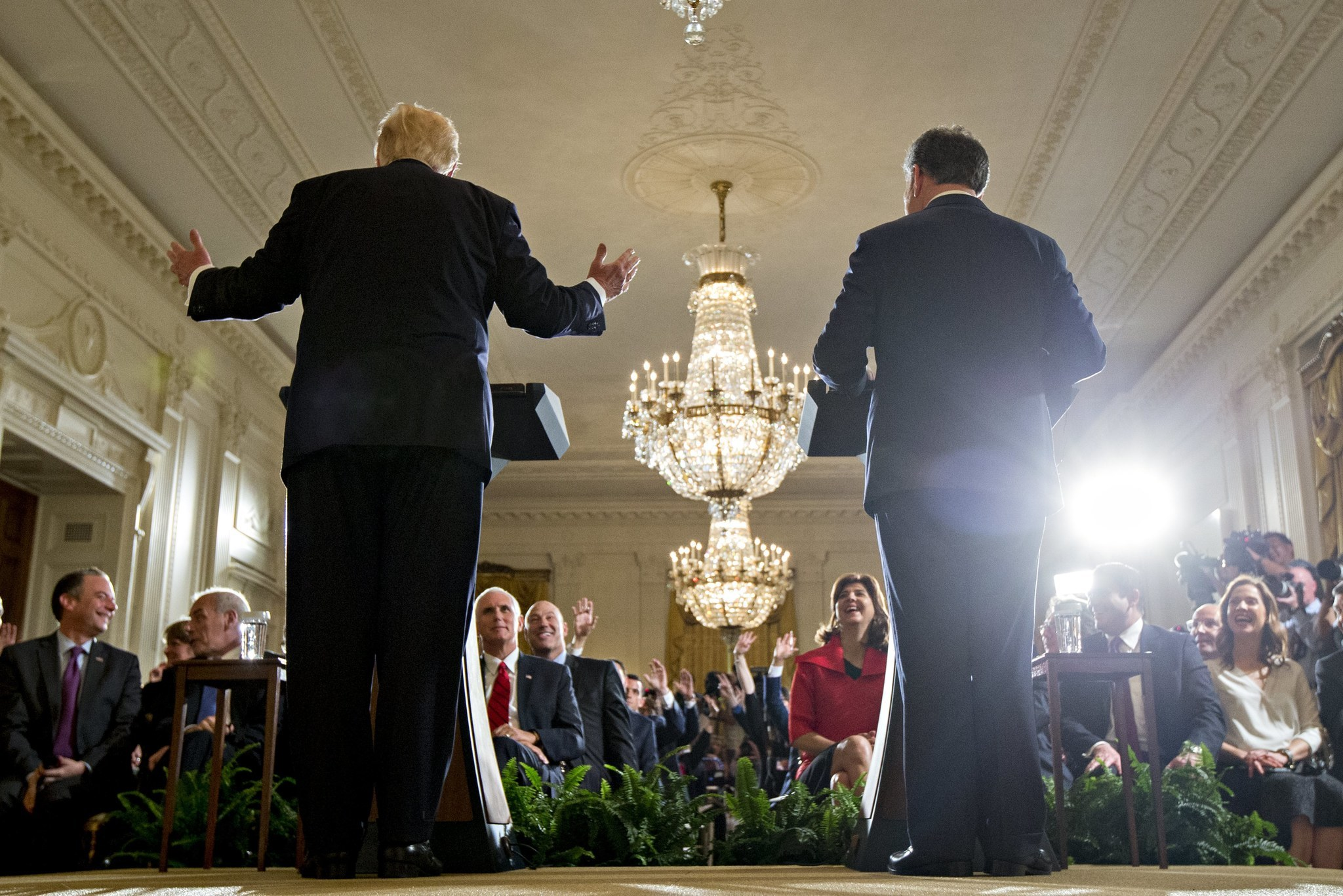 President Trump, left, speaks beside Colombian President Juan Manuel Santos during a White House news conference on Thursday, May 18, 2017. (Andrew Harrer / Pool / EPA)