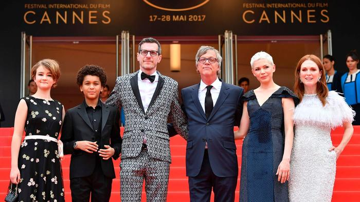 "At Cannes' ""Wonderstruck"" screening, from left, actors Millicent Simmonds and Jaden Michael, writer Brian Selznick, director Todd Haynes and actors Michelle Williams and Julianne Moore. (Alberto Pizzoli / AFP/Getty Images)"