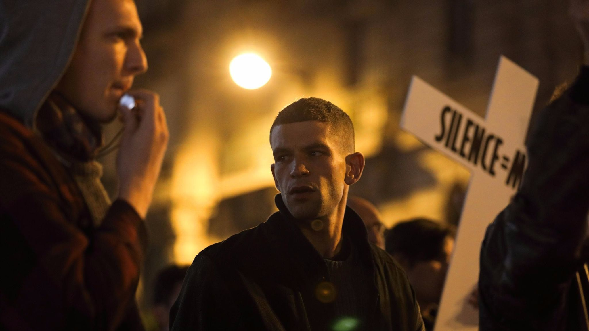 "A scene from the film ""120 Beats Per Minute."""