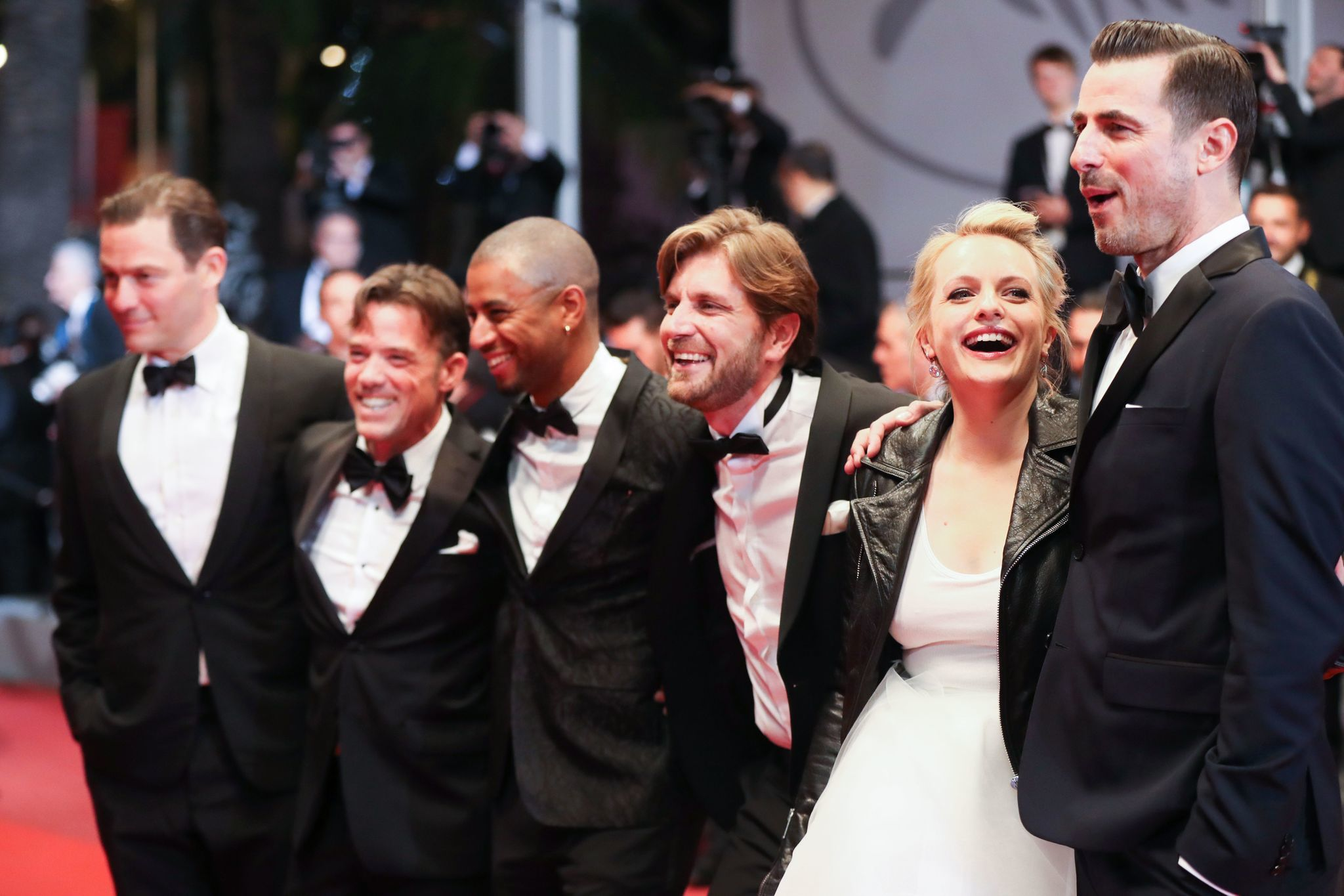 """The Square"" team: from left, actors Dominic West, Terry Notary and Christopher Læsso, director Ruben Ostlund, actress Elisabeth Moss and actor Claes Bang as they arrive on the red carpet at the 70th edition of the Cannes Film Festival."