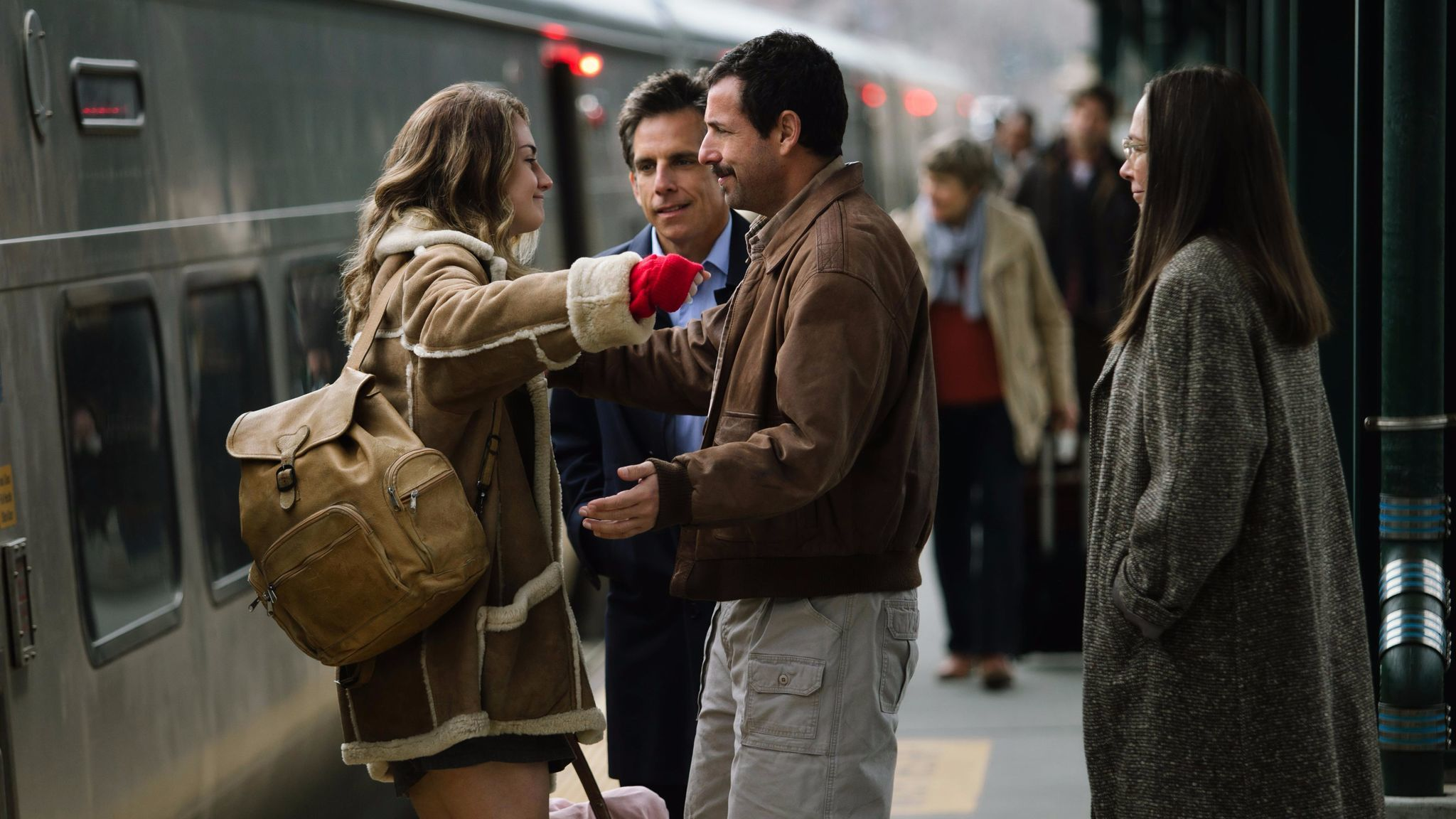 "Grace Van Patten, Ben Stiller, Adam Sandler and Elizabeth Marvel in the film ""The Meyerowitz Stories (New and Selected)."""