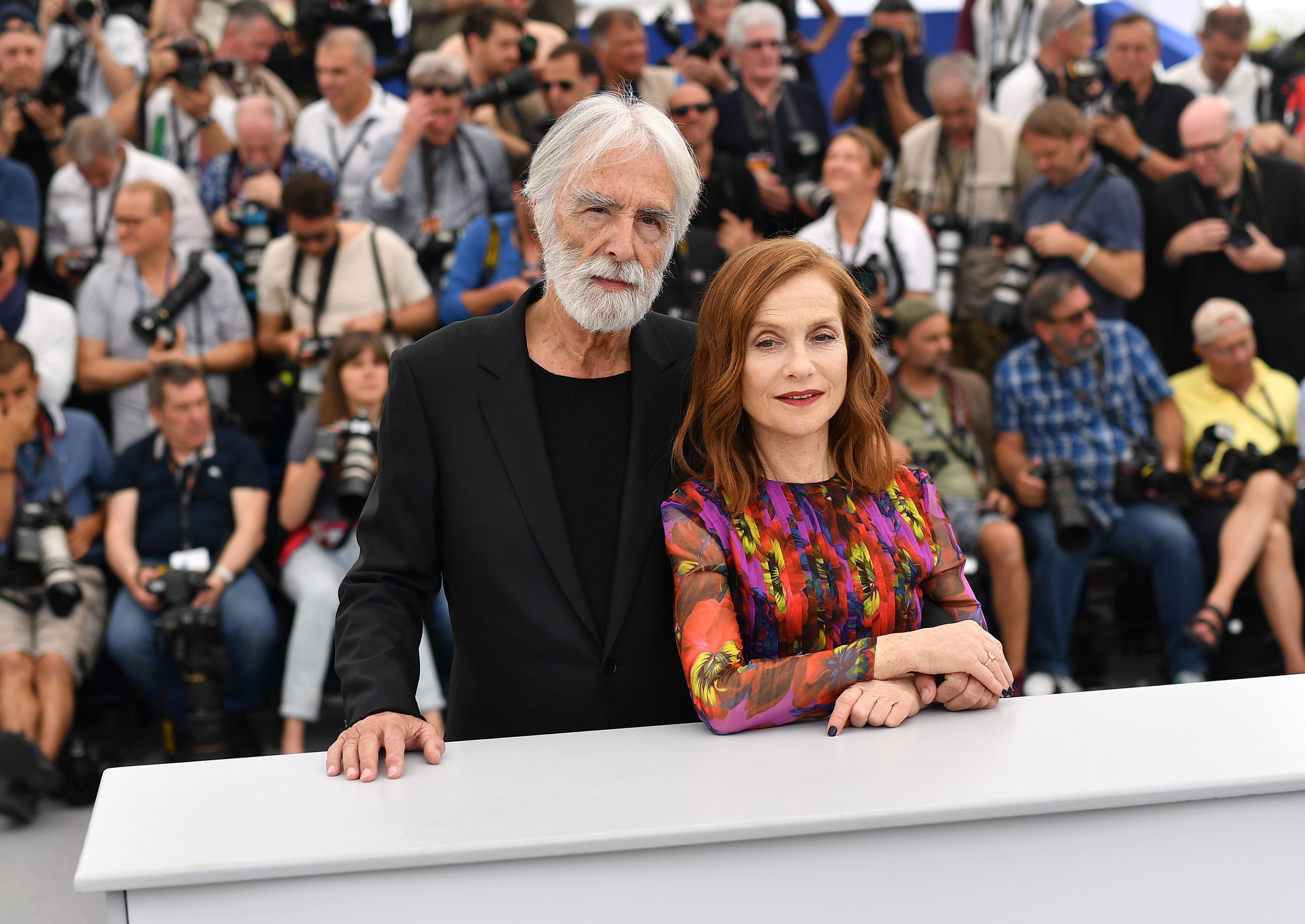 "Isabelle Huppert and director Michael Haneke at the ""Happy End"" photocall during the 70th annual Cannes Film Festival on May 22, 2017."