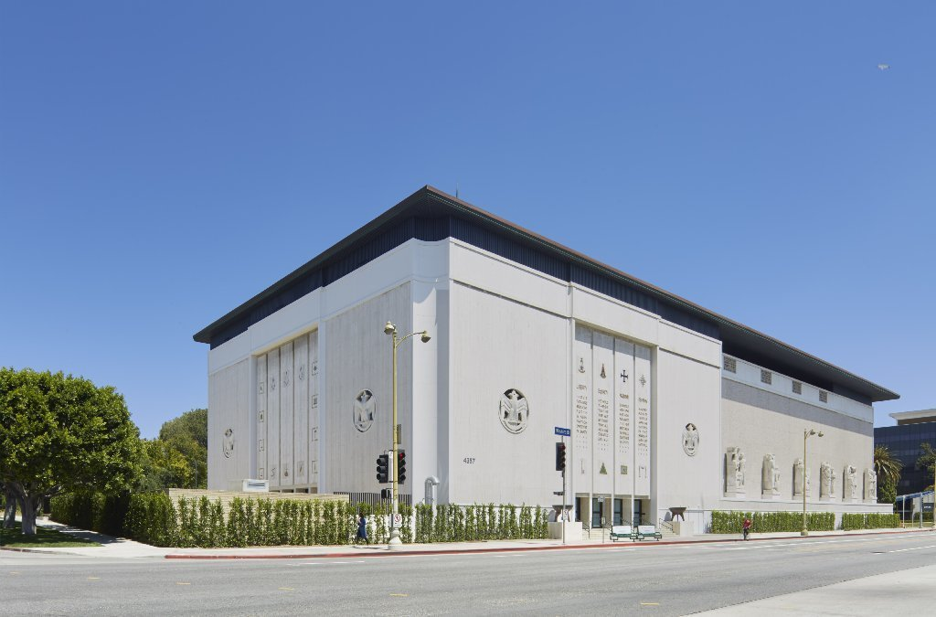 The Marciano Art Foundation is housed in the long-shuttered Masonic temple on Wilshire Boulevard, designed in 1961 by Millard Sheets and renovated by Kulapat Yantrasast.