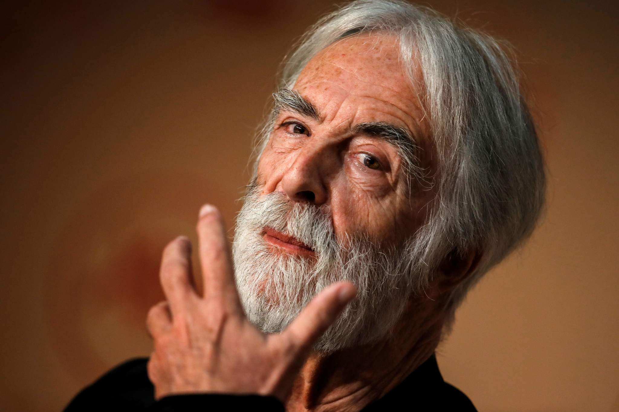 Director Michael Haneke during a press conference at the Cannes Film Festival.