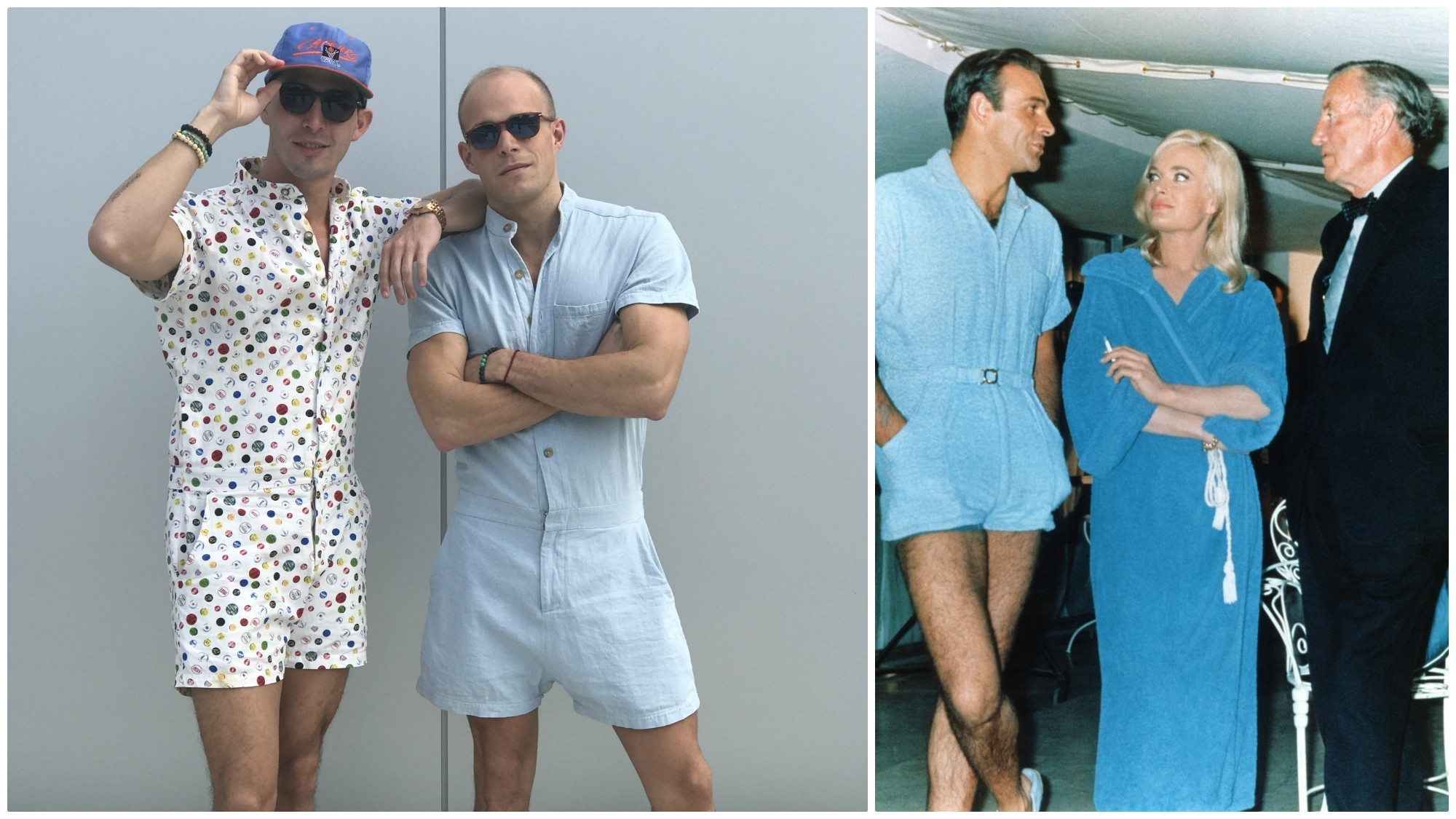 "Aced Design's version of the male romper, left, and a blue terrycloth version worn by Sean Connery as James Bond in ""Goldfinger"" (with Shirley Eaton and Ian Fleming)."