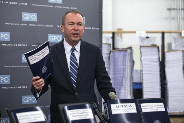 Office of Management and Budget Director Mick Mulvaney participates in a review of the production run of the 2018 budget. (Jim Lo Scalzo / European Pressphoto Agency)