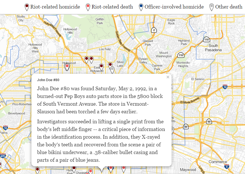 For 25 years the burned remains of a teenager found during la map of riot deaths showing john doe 80 sciox Gallery