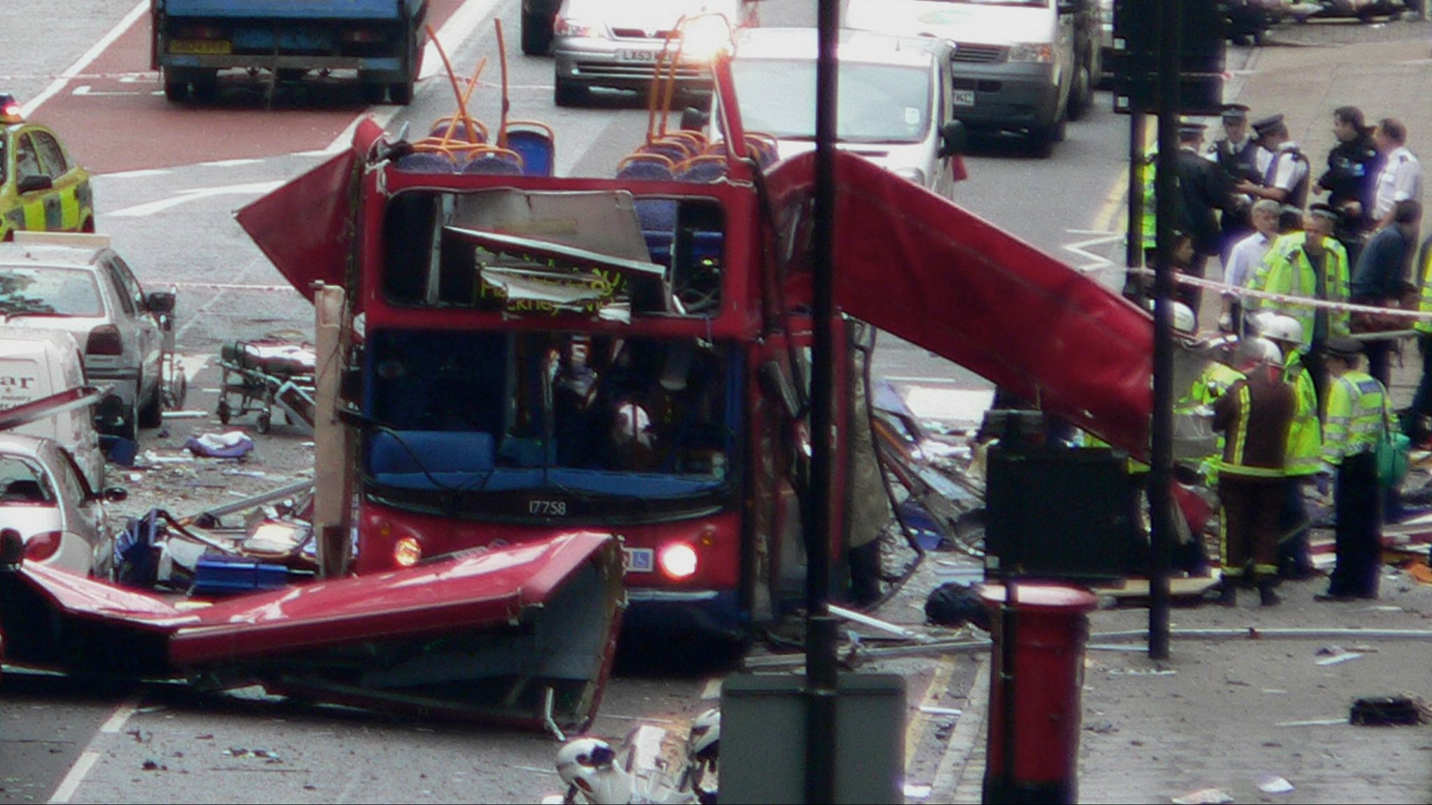 Several bombings rocked London's public transportation systems, damaging buses and subways, killing dozens amd injuring hundreds on July 7, 2005, in London, England.