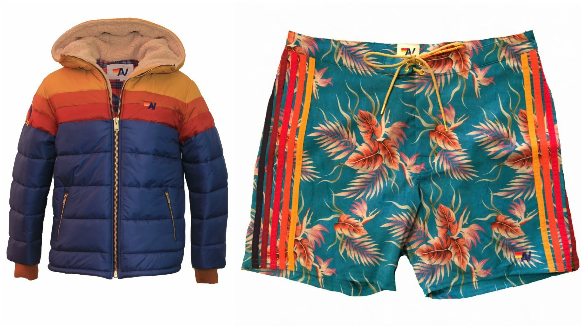Aviator Nation unisex hooded Trekker puffer jacket with shearling lining, $649, and Aviator Nation men's Kauai Stripe board shorts, $159.99.
